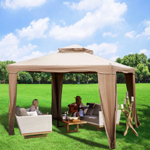 Patio Gazebo Canopy 10x10ft Outdoor 2Tier Tent Shelter Awning Steel w/Netting