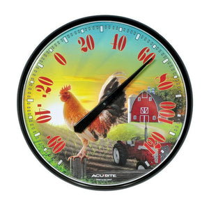 ACU-RITE ROOSTER CHICKEN BARN FARM GARDEN YARD OUTDOOR THERMOMETER 12
