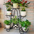 Multi tier Metal Flower Rack Shelf Plant Stand Step Design Indoor Outdoor Garden