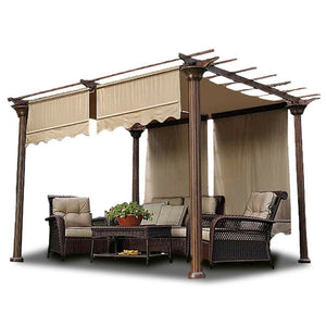 2pcs Pergola Canopy Replacement Cover Tan Valance 15.5x4Ft UV30+ 200g
