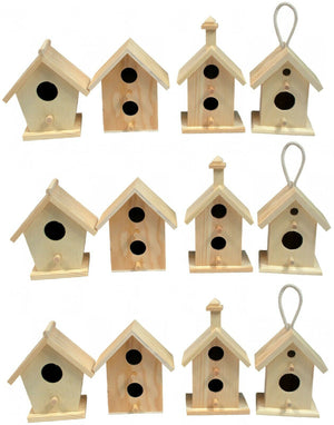 Creative Hobbies 12 Pack of Wooden Bird Houses To Paint, DIY Design Your Own