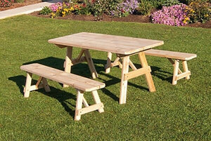 Outdoor 4 Foot Traditional Pine Picnic TABLE ONLY - Unfinished - Amish Made USA