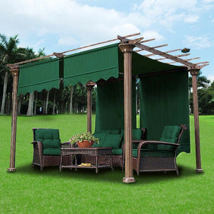 2x 15.5x4Ft Canopy Replacement Cover Pergola Gazebo Yard Green  w/ Valance Top