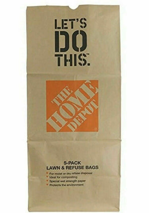 Home Depot Heavy Duty Brown Paper Bags Lawn Refuse 49022 (30 Gal) 5-Pack