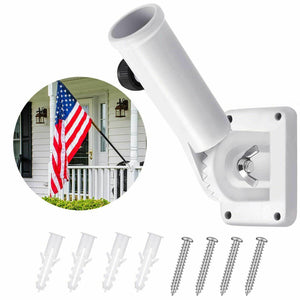 Wall Mount Flag Pole Bracket Heavy-Duty Aluminum with Adjustable Design White