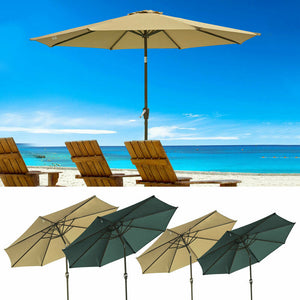 9' 10' Patio Umbrella UV50 Olefin Metal Tilt Outdoor Garden Parasol Market Beach
