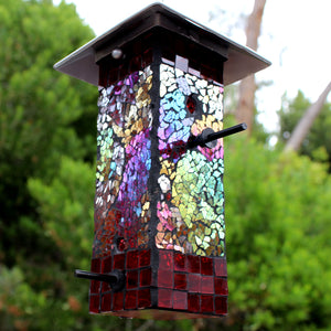 Mosaic Stained Glass Bird Feeder Large Capacity BRAND NEW Yard Art Metal Top