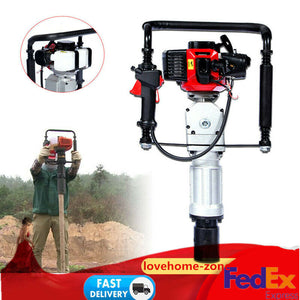 Portable 2 Stroke Gas Powered Pile Driver T Post Pole Fence +2 post driving head