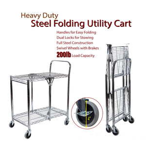 Domovina 2 Tier Collapsible Rolling Utility Cart with Wire
