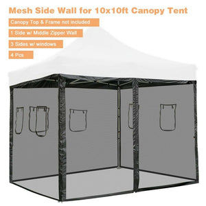 4Pcs Pop Up 10ft Canopy Tent Mesh Sidewall Commercial Tent Side Wall Shelter