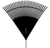 Lawn Leaf Shrub Wood Handle Garden RAKE Scoop Durable Steel Poly Head Tines NEW