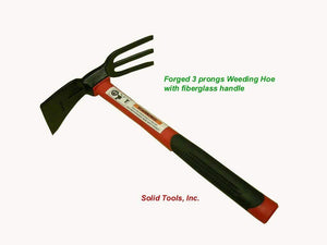 Forged 3 Prong Fork Adze Hoe W/ Fiberglass Handle! Forgecraft USA! Brand New!