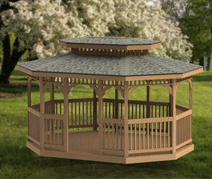 12' x 16' Oval Garden Gazebo with Hip Roof Building Plans