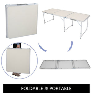 Folding Table 6FT 180x60x70 Alloy Indoor Outdoor Picnic Party Camping White Desk
