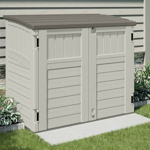 Suncast Horizontal 4 ft. 4 in. W x 2 ft. 8 in. D Storage Shed Stow Away, Ivory