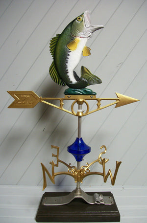 Bass Fish Weather Vane largemouth fishing weathervane Robbins Lightning 537