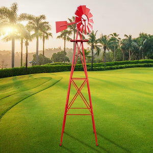 8ft Patio Metal Windmill Yard Garden Decoration WindMill  Red Wind Mill