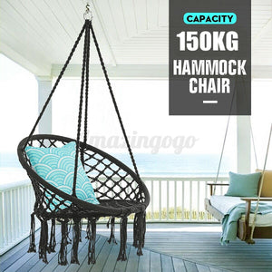 330lbs Hammock Chair Rope Patio Porch Yard Tree Hanging Air Swing Outdoor Black