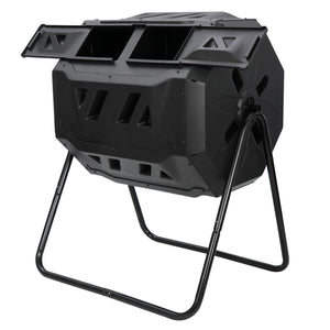 Dual Rotating Outdoor Garden Compost Bin Large Composting Tumbler 43 Gallon