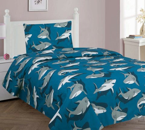 Shark Blue Grey Printed Sheet Set With Pillowcase For Boys / Kids/ Teens