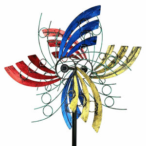 3D Kinetic Wind Spinners with Stable Stake Metal Garden Spinner