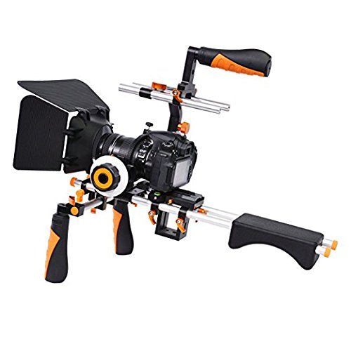 YaeCCC Video Camera Shoulder Rig Support Matte Box Follow Focus Compatible Compatible All DSLR Cameras Camcorders-Color Orange