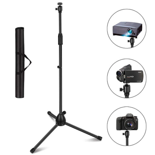"Projector Stand, Portable Tripod Stand Lightweight Adjustable Height 29.5"" to 55.1"" Floor Stand Holder 360°Swivel Ball Head Compatible Projector, Small Camera, Webcam, GoPro Carry Bag"