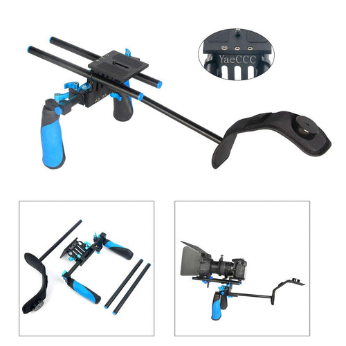 YaeCCC Rig Shoulder Chest Steady Support Mount Movie Kit Pro 15mm Rod Rail Support Set DSLR Camcorder
