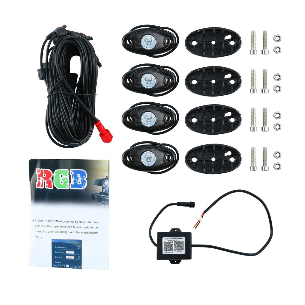 4 Pcs RGB Led Rock Lights Under Body Lights Compatible for Jeep Trucks ATV SUV (Bluetooth Control,4pods)