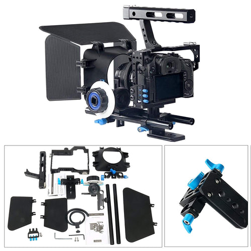 YaeCCC Video Stabilizer Kit 15mm Rod Rig Camera Cage+Follow Focus+Matte Box Compatible Sony A7 (Blue)