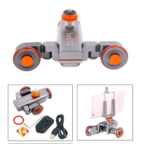YaeCCC Pro II Motorized Electric Track Slider Dolly Car 3-Wheel Video Pulley Rolling Skater Compatible DSLR Camera