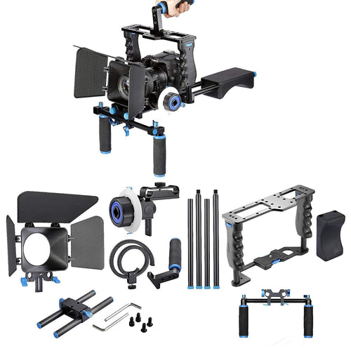 Aluminum Film Movie Kit System Rig Includes:(1) Video Cage+(1) Top Handle Grip+(2) 15mm Rod+(1) Matte Box+(1) Follow Focus+(1) Shoulder Rig Compatible Canon/Nikon/Pentax/Sony Other DSLR Cameras