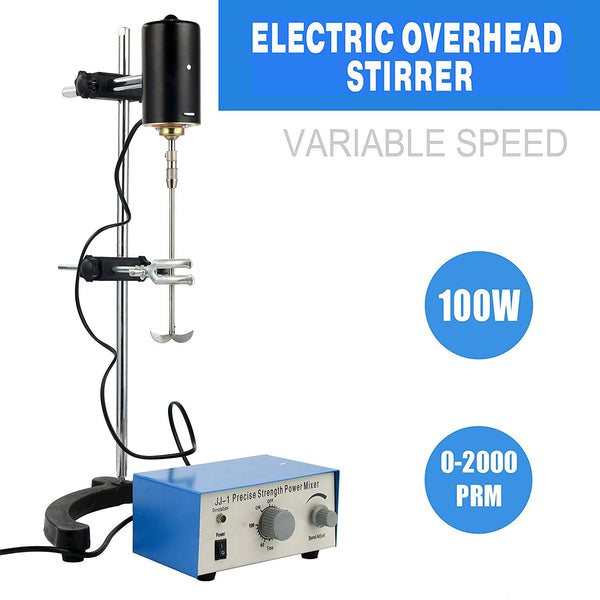 YaeCCC Electric Overhead Stirrer Mixer 0-2000 RPM Overhead Stirrer Mixer 100W Overhead Stirrer 0-120 Minutes for Lab Mechanical Mixer