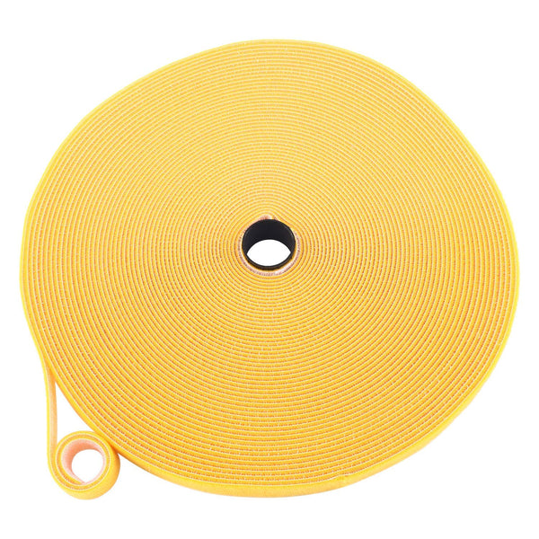 Reusable Fastening Tape Cable Ties 3/4-Inch Double Side Hook Loop Roll (25yard / 75ft), Yellow