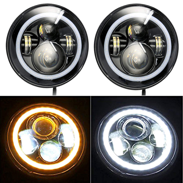"YaeTek 1 Pair 7"" Round Angel Eyes Led HALO Headlight For Jeep Wrangler JK/TJ/LJ/CJ"