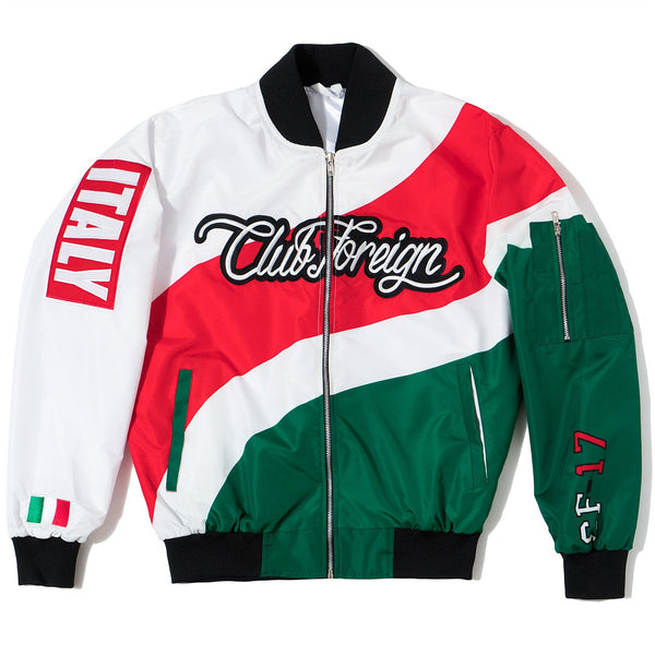 "Club Foreign Three Color Bomber Jacket ""Italy"" - Trends Society"