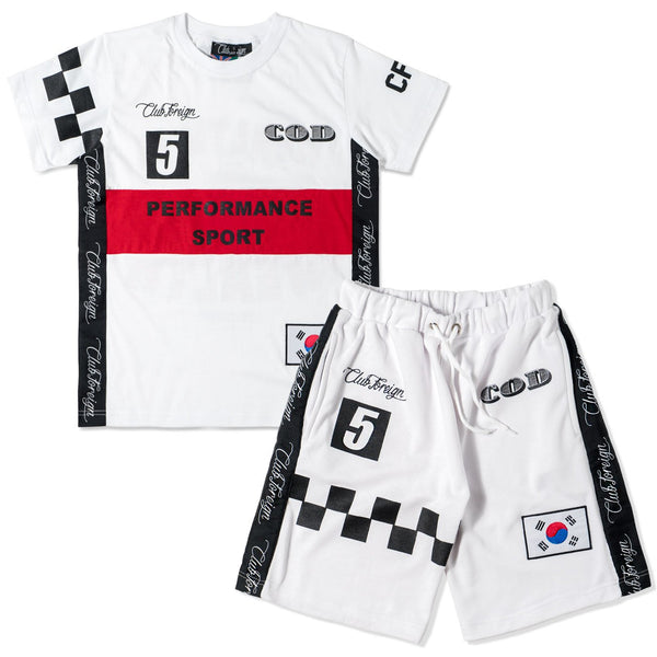 "Club Foreign Performance ""COD"" T-shirt and Shorts Set White / Red - Trends Society"