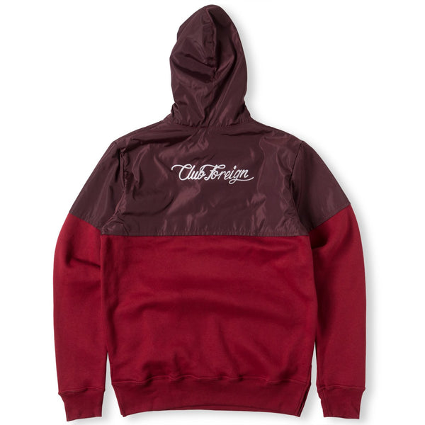 ClubForeign Performance Hoodie with Satin Top Burgundy - Trends Society