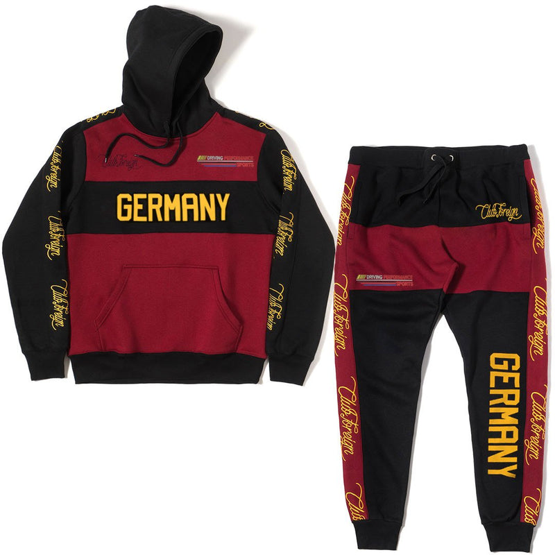 ClubForeign Germany Performance Embroidered Sweatsuit, Burgundy / Black - Trends Society