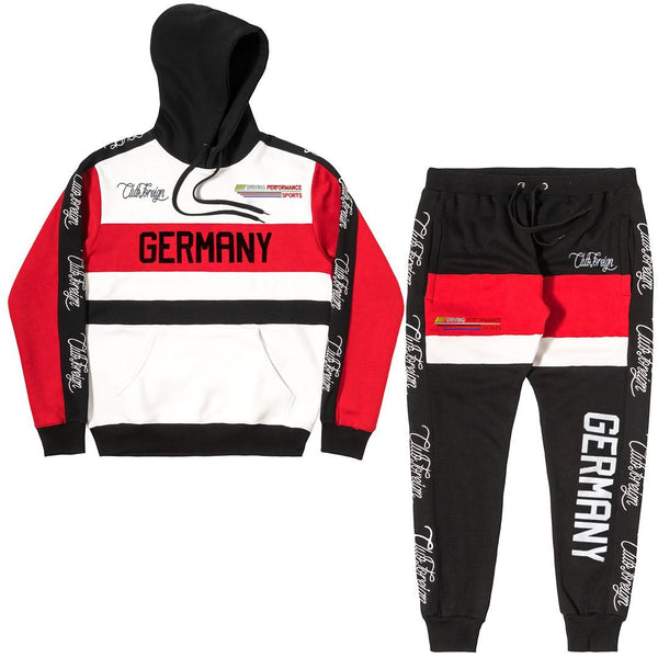 ClubForeign Germany Performance Embroidered Sweatsuit, Red / Black - Trends Society