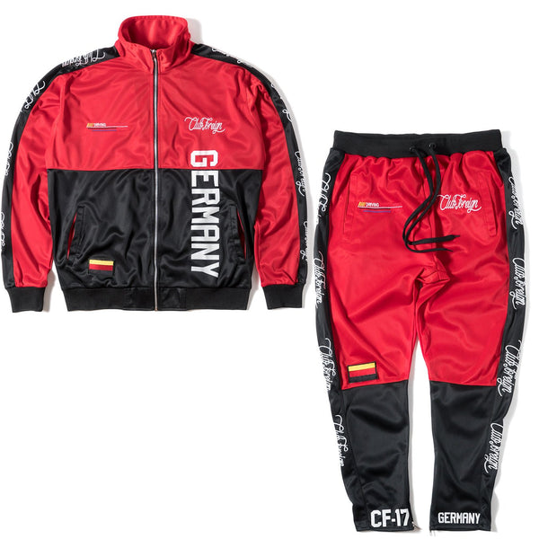 ClubForeign Performance Sports Suit Set Jacket and Pants Germany Red - Trends Society