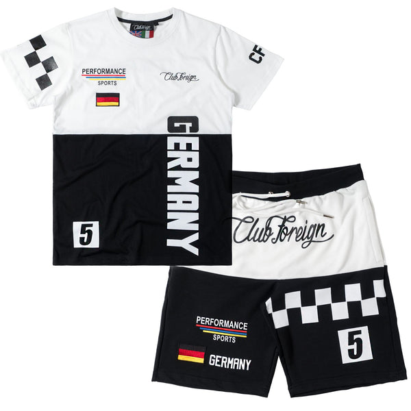 Club Foreign Performance T-shirt and Shorts Set White / Black - Trends Society