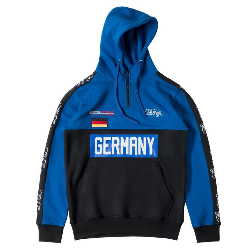 ClubForeign Germany Embroidered Sweatsuit with Neck Zip, Blue Black - Trends Society