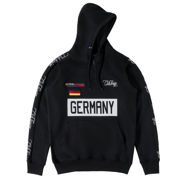 ClubForeign Germany Embroidered Sweatsuit with Neck Zip, Black - Trends Society
