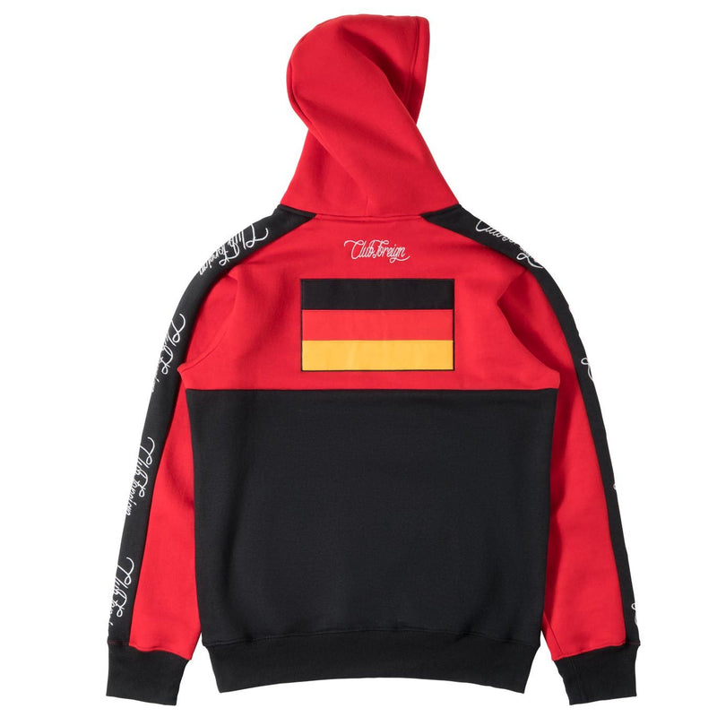 ClubForeign Germany Embroidered Sweatsuit with Neck Zip, Red Black - Trends Society
