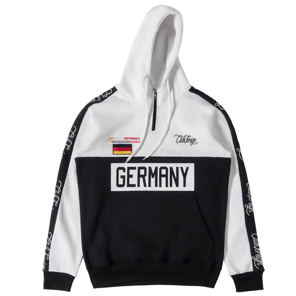 ClubForeign Germany Embroidered Sweatsuit with Neck Zip, White / Black - Trends Society