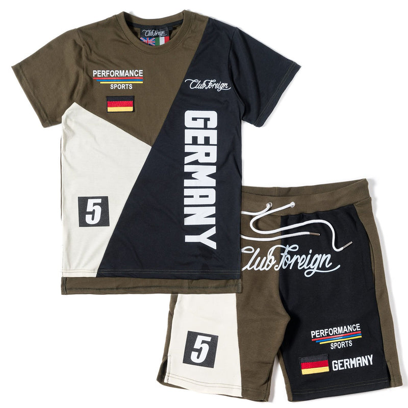 Club Foreign Performance T-shirt and Shorts Set Olive / Black / Beige - Trends Society
