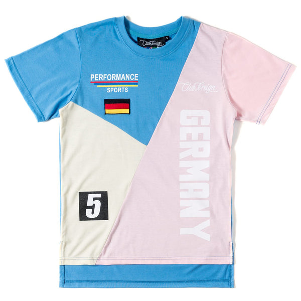 Club Foreign Performance T-shirt and Shorts Set Blue / Pink / Beige - Trends Society
