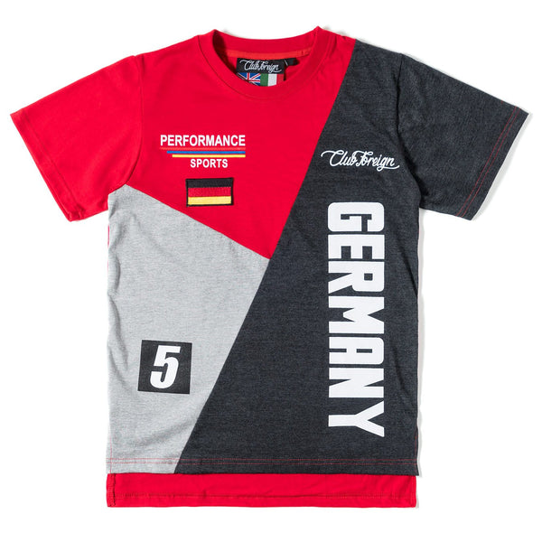 Club Foreign Performance T-shirt and Shorts Set Red / Gray / Light Gray - Trends Society