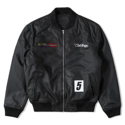 Club Foreign Performance Lose Fit PU Leather Bomber Jacket Black - Trends Society
